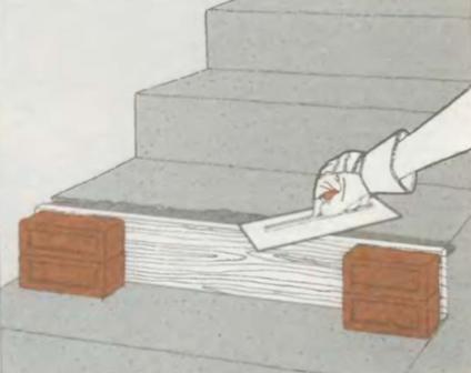 Ремонт отколотого края ступени   Ремонт бетона