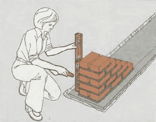 Кладка стен из кирпича | Окончание кладки первого края кирпичей