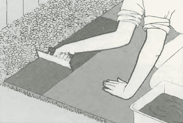 Укладка раствора | Мощение бетонной плиты керамическими плитками
