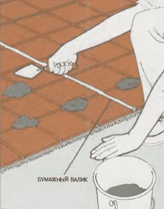 Заполнение швов раствором | Мощение бетонной плиты керамическими плитками