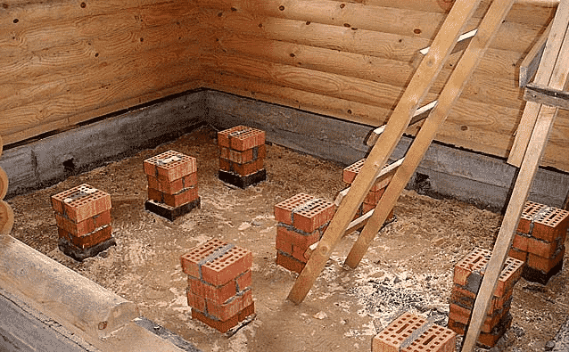 Как и из чего сделать полы в подвале | Установка кирпичных столбиков