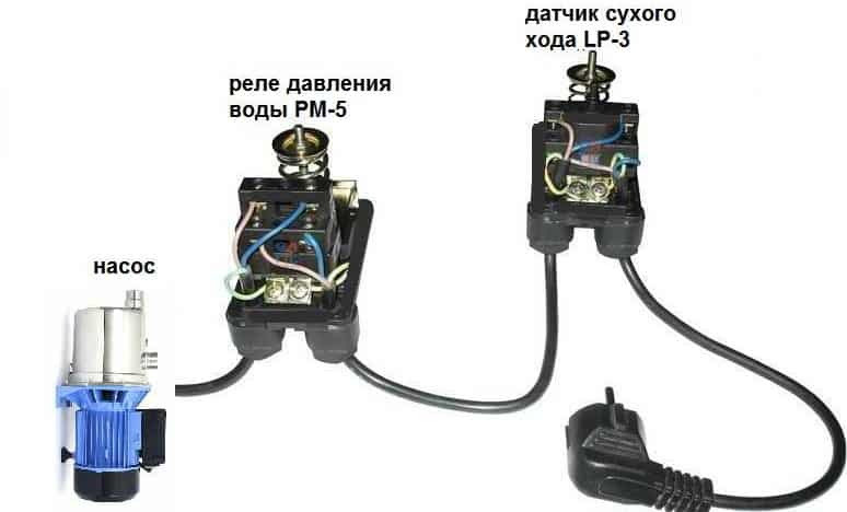 Датчик сухого хода необходимо устанавливать в одной сети с датчиком давления воды