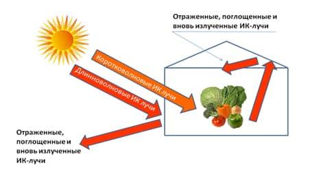 Процесс распределения солнечных лучше в парнике