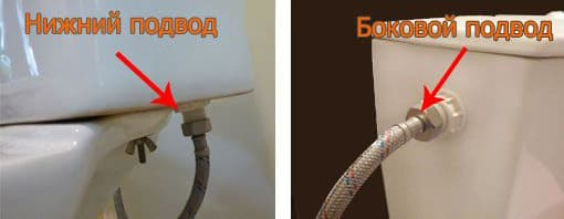 Нижний и боковой подводы воды к бачку унитаза