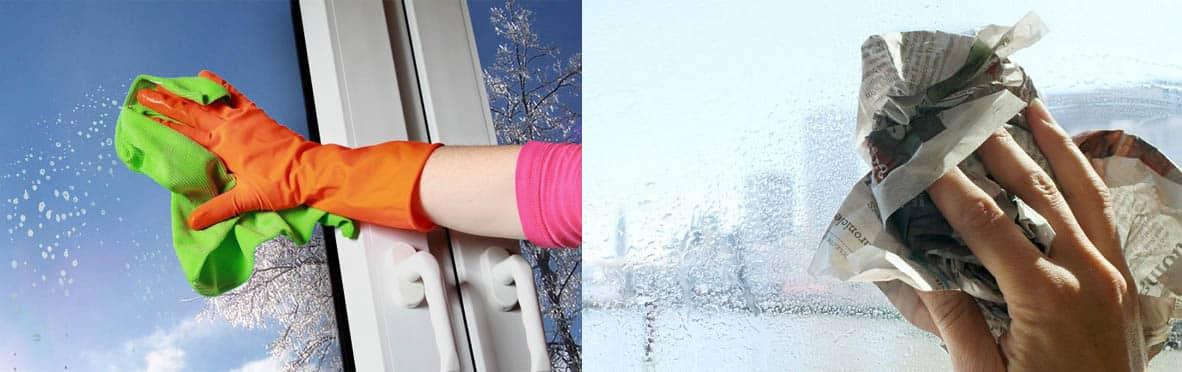 Мытьё окна при помощи тряпки и бумаги