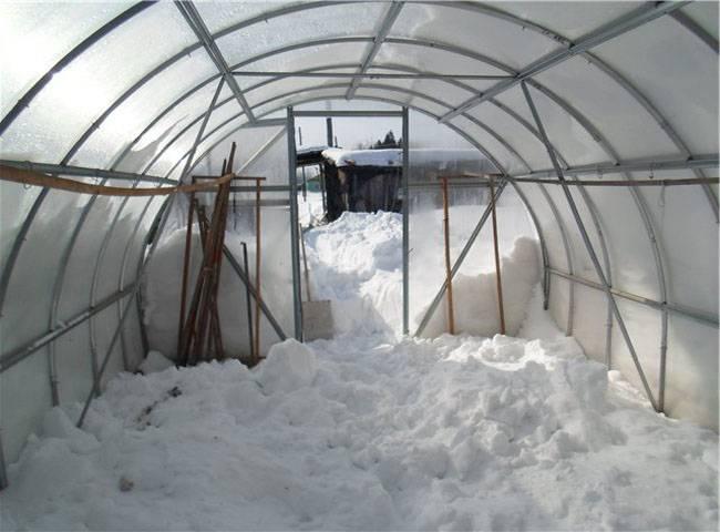 Снежный покров в теплице