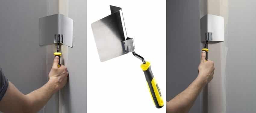 Угловой шпатель: слева — для внутренних углов, по центру и справа — для внешних углов