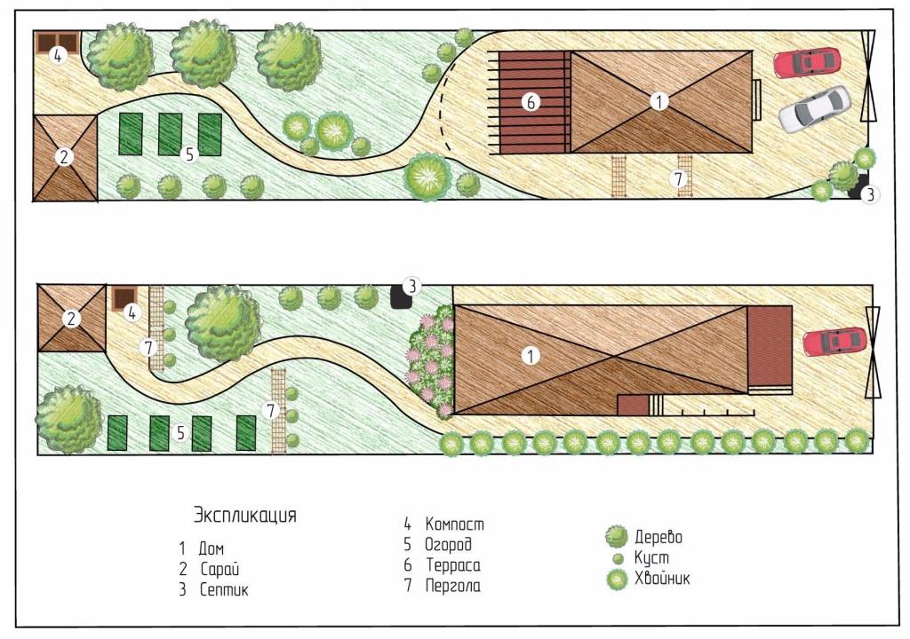 Примеры планировки узкого земельного участка