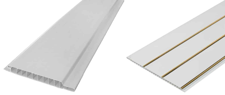Слева — стеновая ПВХ панель, права — потолочная