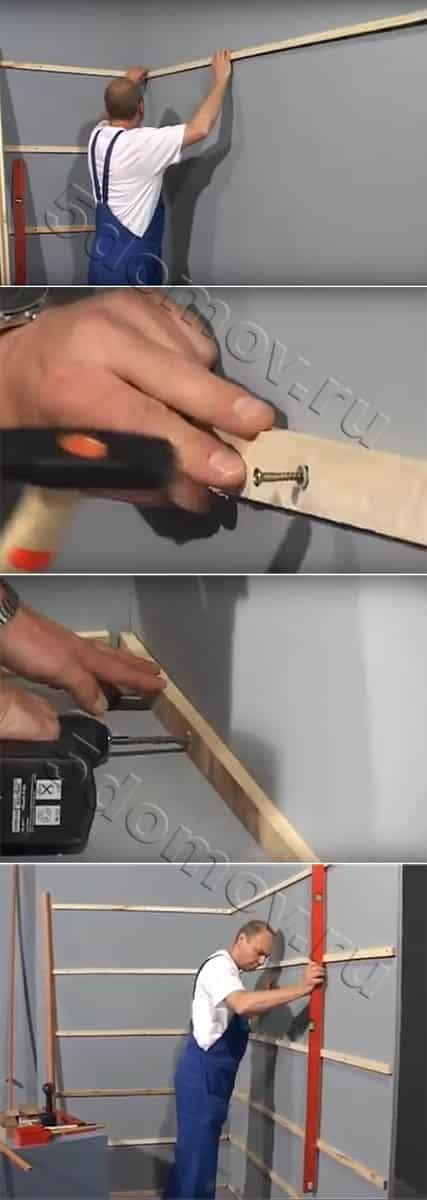 Монтаж деревянной обрешетки под панели ПВХ