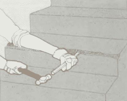 Ремонт отколотого края ступени | Ремонт бетона