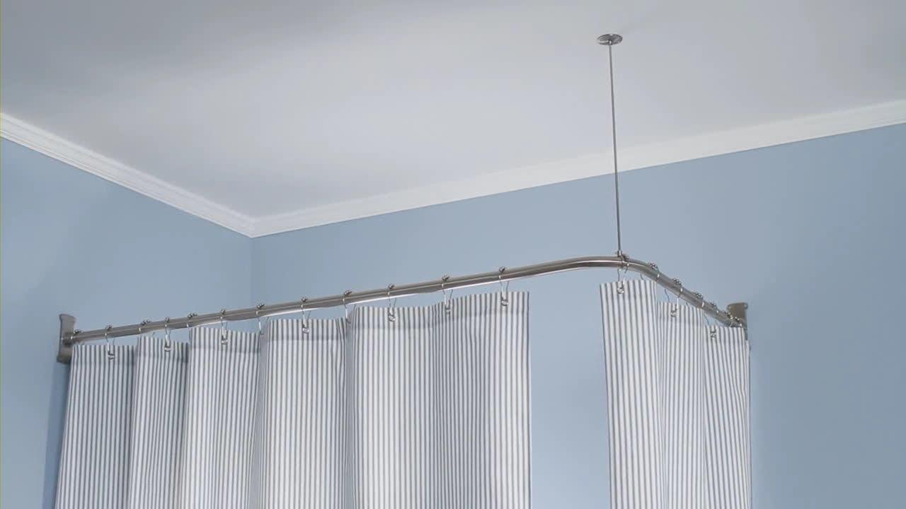 Штанга для шторы в ванную | Крепления штанг для штор