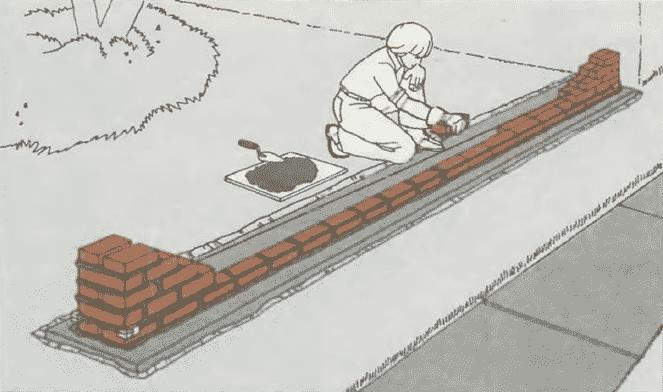 Кладка стен из кирпича | Кладка ряда кирпичей между торцами стены