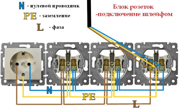 Схема подключения блока розеток | Выбор и установка розеток и выключателей