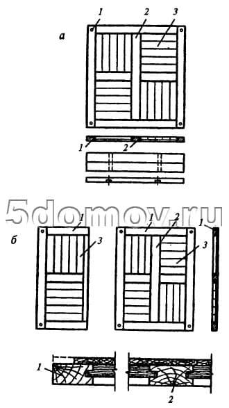 Щит художественного паркета с однослойным основанием а — целый щит; б — щипы-доборы; 1 — обвязка; 2 — крестовина; 3 — заполнение