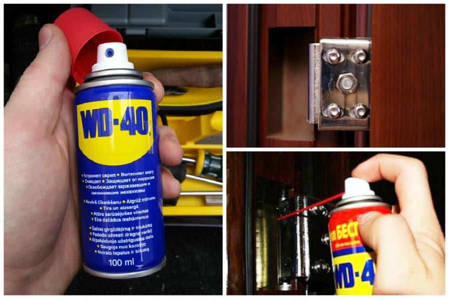 Аэрозоль WD для смазывания дверных петель
