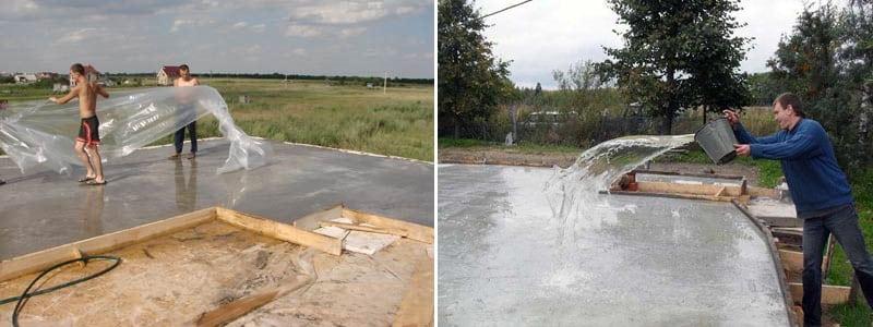 Необходимо компенсировать потерю влаги бетоном, иначе реакции по его затвердеванию могут замедлиться либо остановиться вовсе