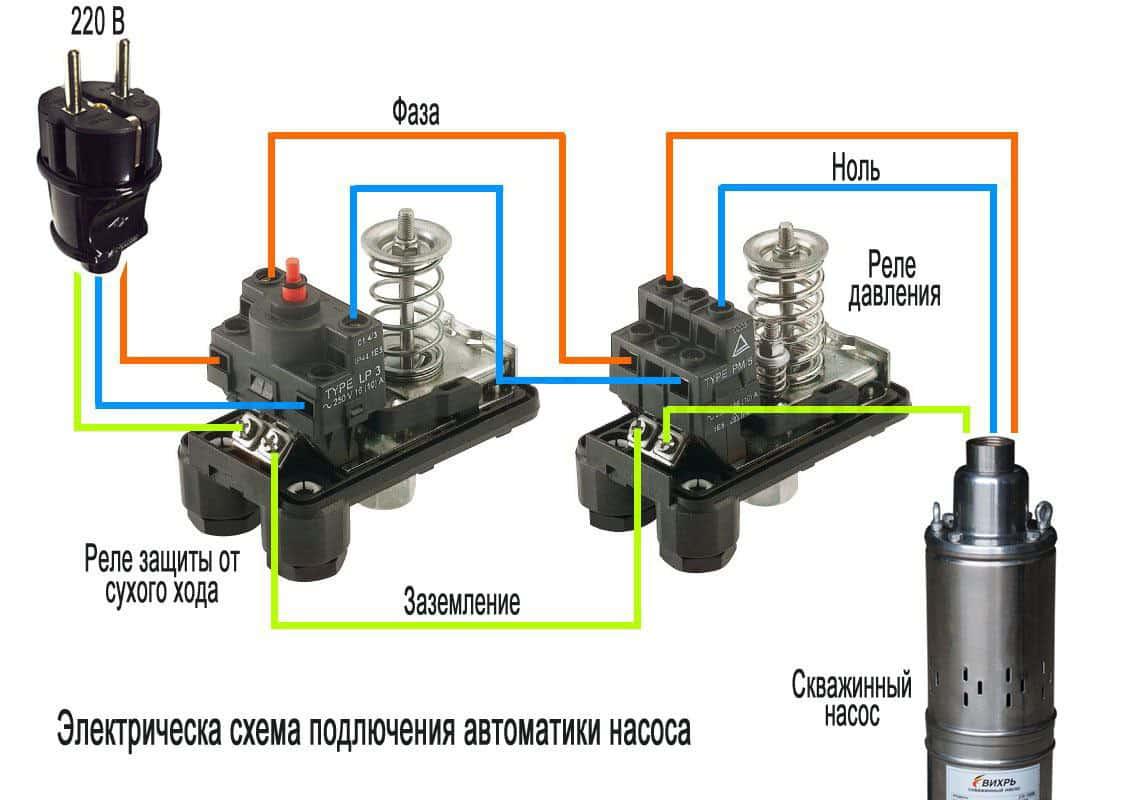Электрическая схема подключения реле защиты от сухого хода