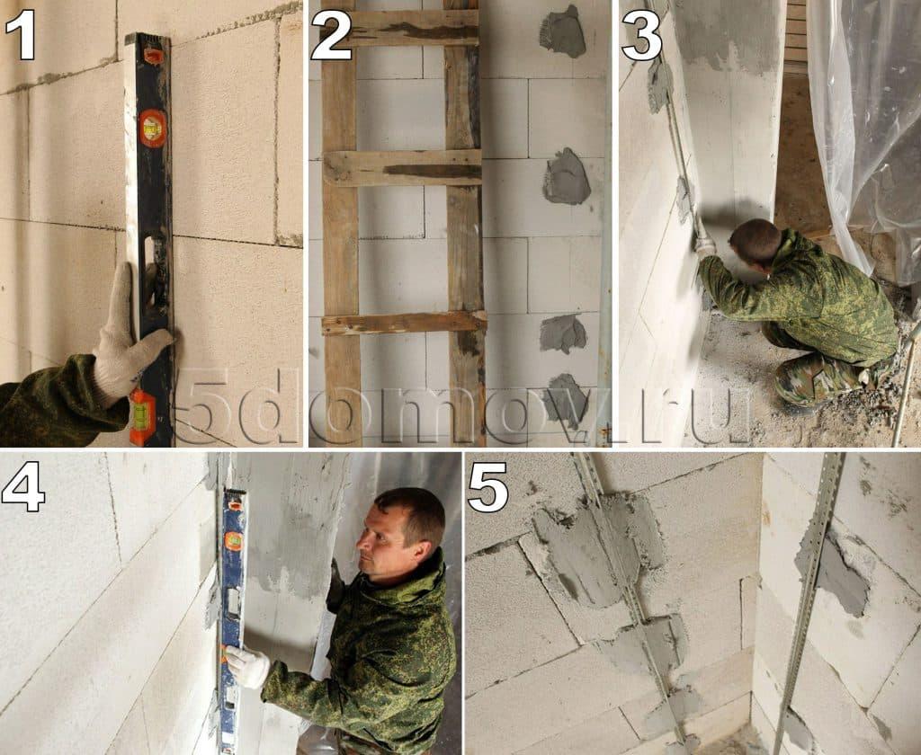 Инструкция по установке штукатурных маяков для внутреннего угла