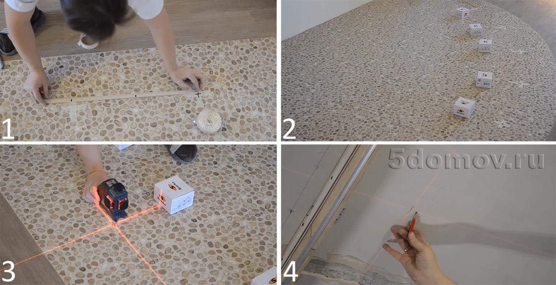 Разметка закладных: производится на полу, а затем при помощи нивелира перерисовывается на потолок