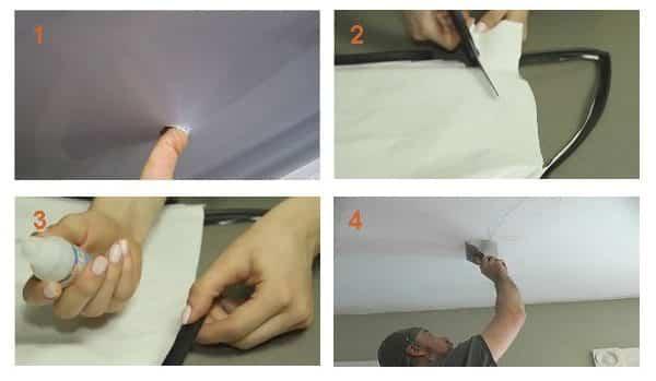 Нанесение заплатки на тканевый натяжной потолок: вырезается заплатка (2), на неё наносится прозрачный клей (3), заплатка наклеивается и аккуратно разглаживается (4).