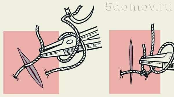 Ремонт небольшой дырки на тканевом натяжном потолке при помощи иголки и капроновой нитки