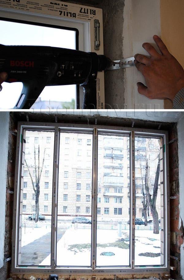 Фиксация окна при помощи анкерных пластин