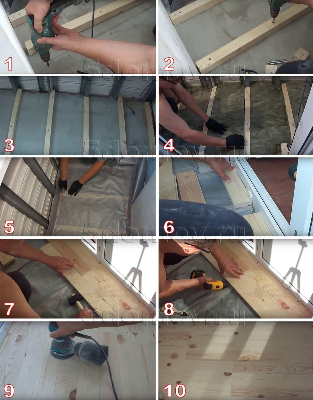 Монтаж обрешетки и отделка пола вагонкой: подробная инструкция