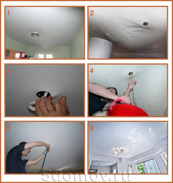 Процесс слива воды с натяжного потолка при наличии технического отверстия