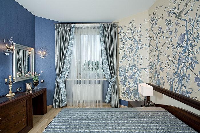 Как подобрать цвет обоев в спальню | Синие обои