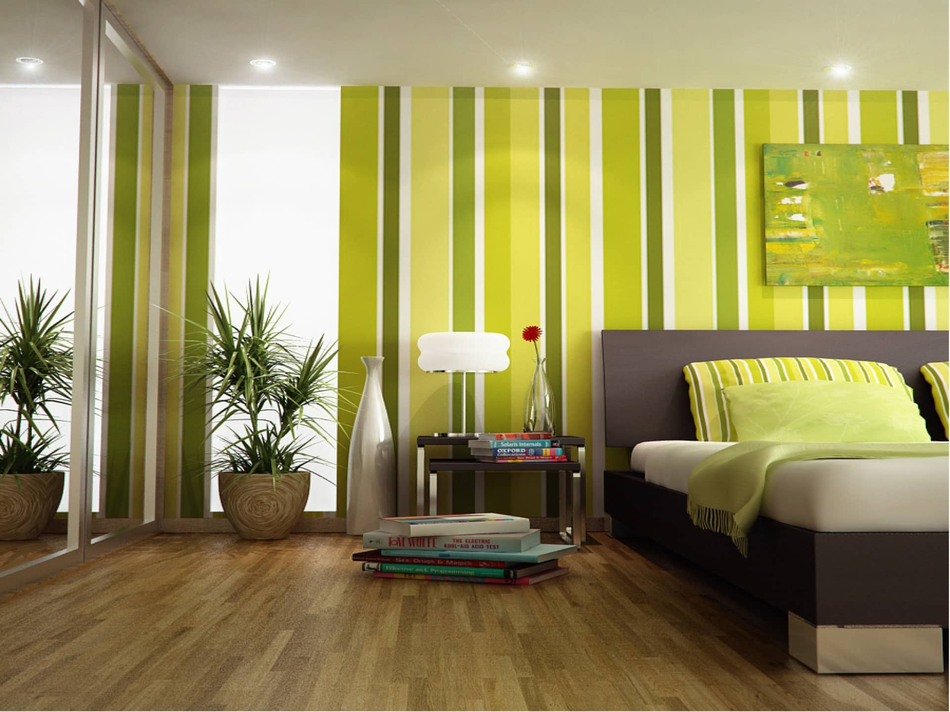Как подобрать цвет обоев в спальню | Зеленые обои