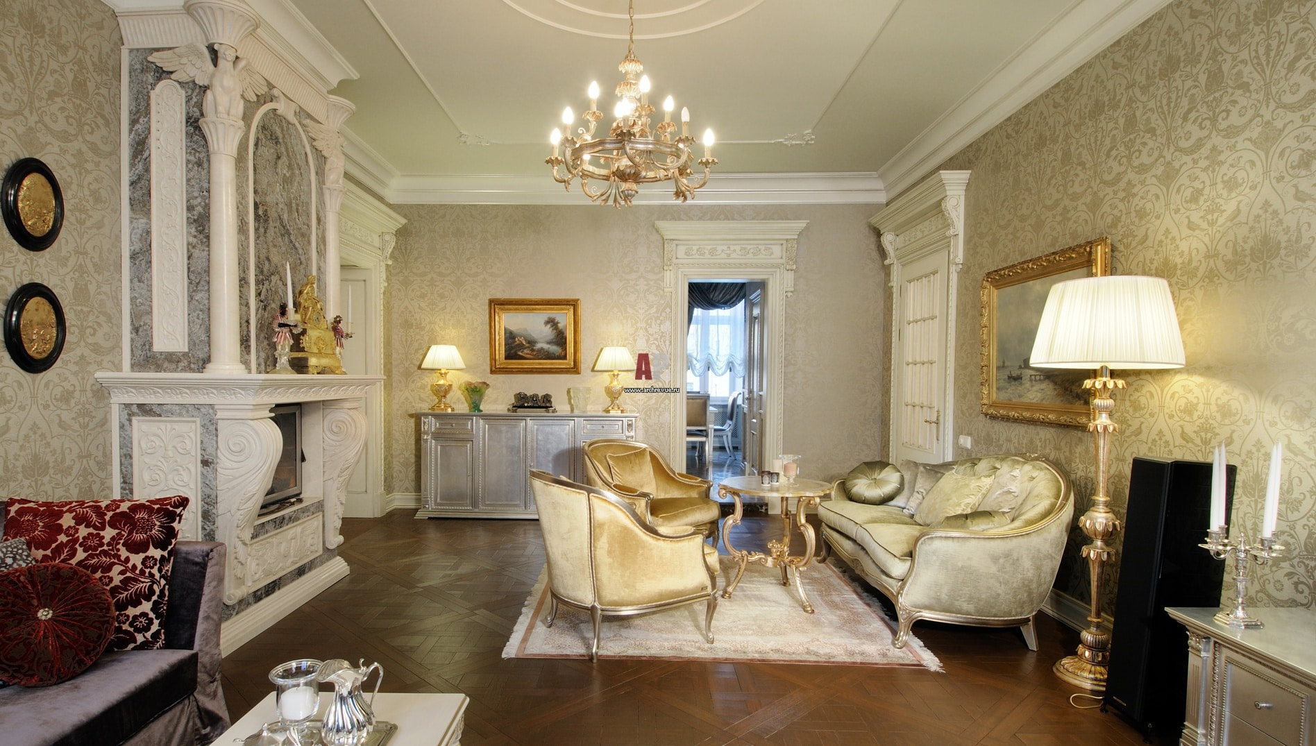 Как подобрать обои в зал | Обои для гостиной в классическом стиле