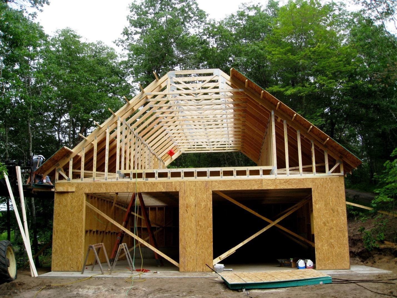 Двухскатная крыша | Гараж из дерева своими руками