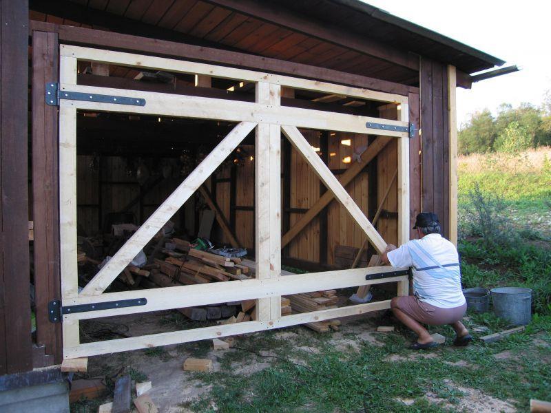 Установка гаражных ворот | Гараж из дерева своими руками