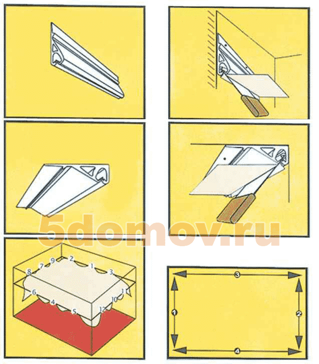 Схемы установки тканевых натяжных потолков | Установка тканевых натяжных потолков: пошаговая инструкция монтажа своими руками