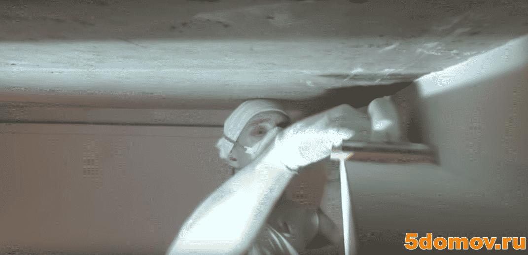 Финишная отделка гипсокартона | Короб из гипсокартона на потолке под натяжной потолок