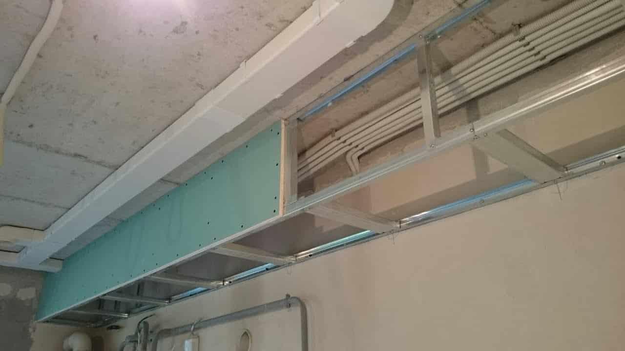 Как обшить каркас гипсокартоном | Короб из гипсокартона на потолке под натяжной потолок