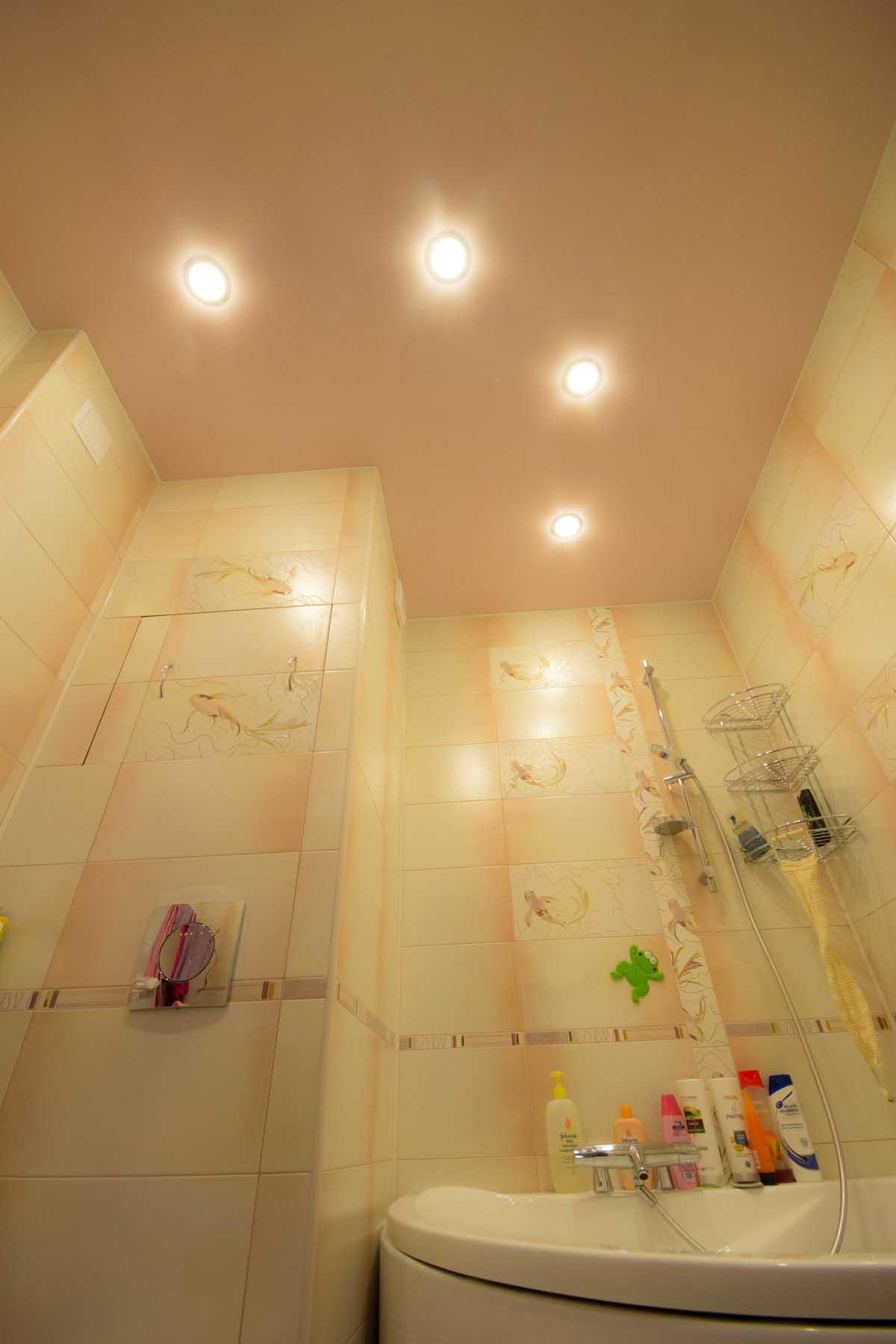 Расположение светильников в ванной