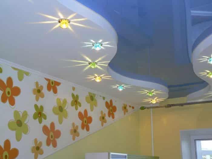 Расположение светильников в детской