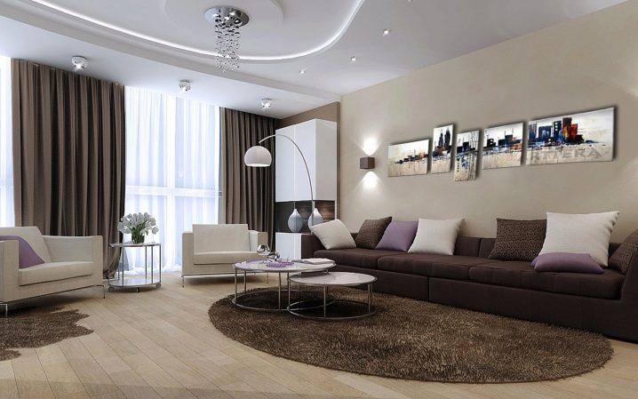Расположение светильников в зале / гостиной