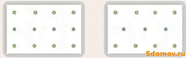 Расположение светильников в зависимости от помещения